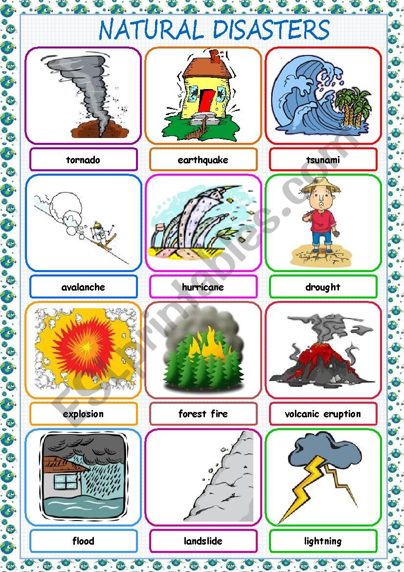 Natural Disasters Picture Dictionary