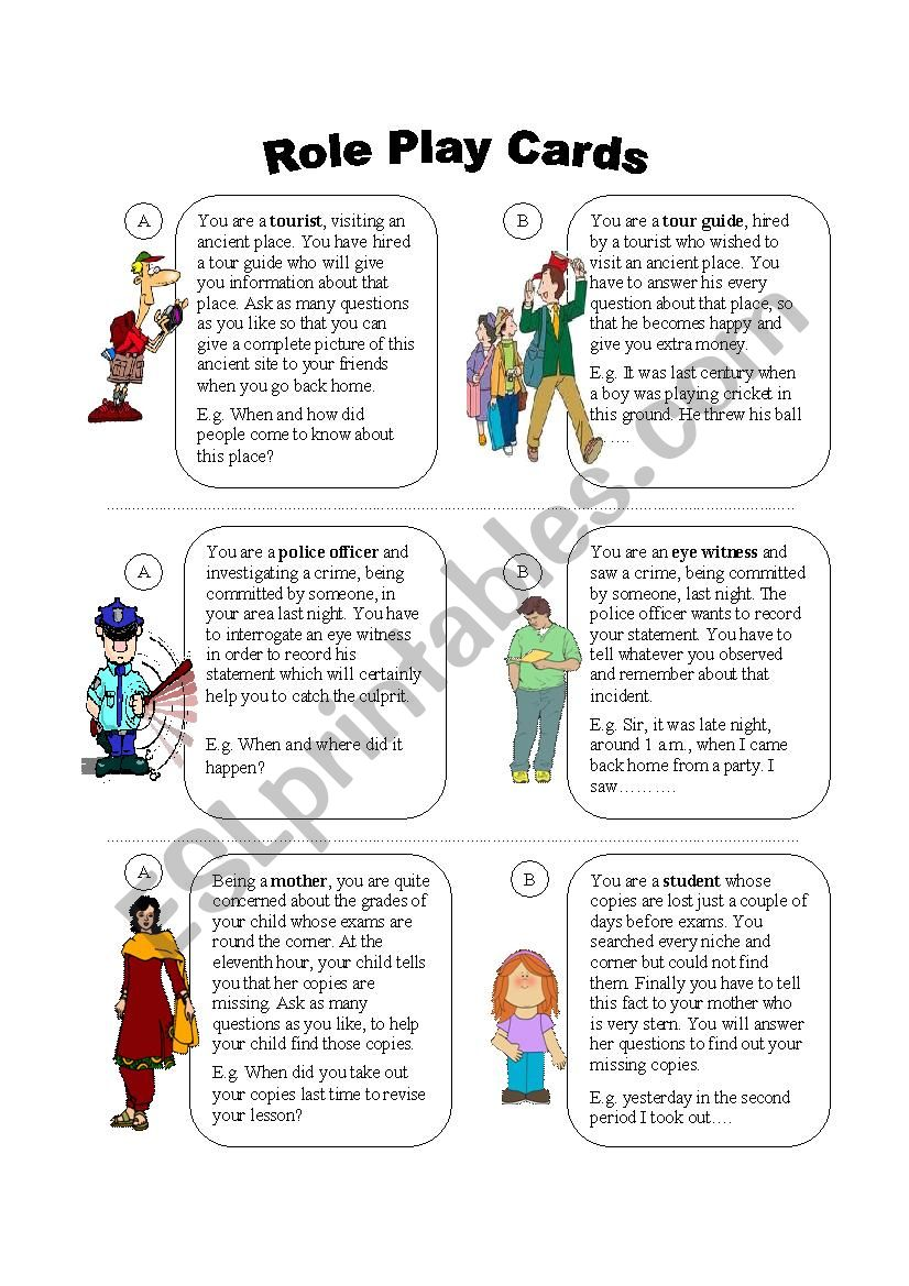 Role Play Cards worksheet