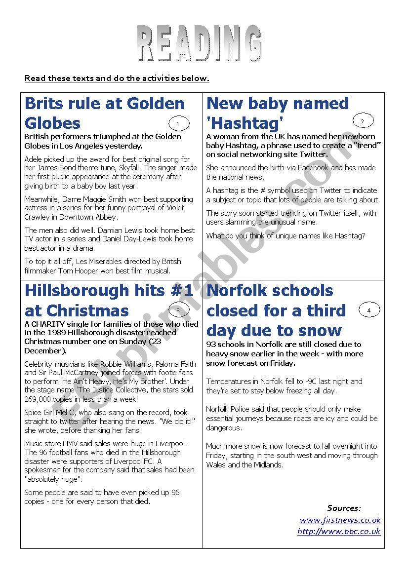 4 articles worksheet