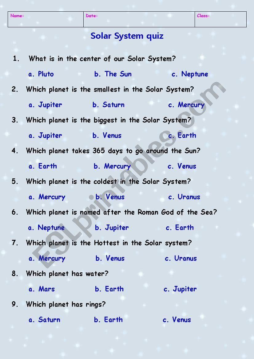 Solar System quiz worksheet