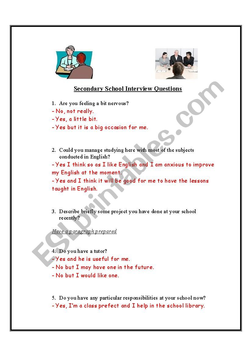 School interview dialogue and practise - ESL worksheet by ...