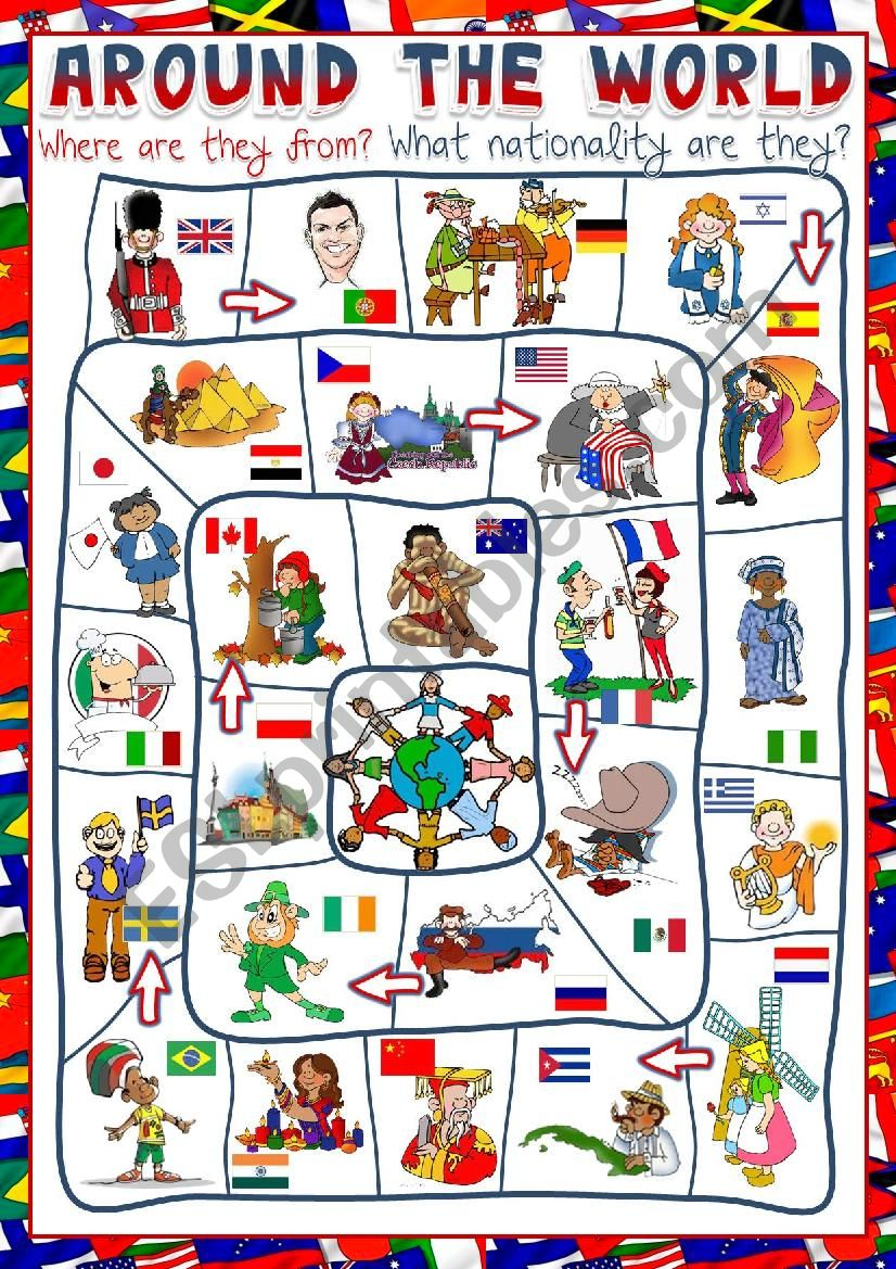 Around the world - board game worksheet
