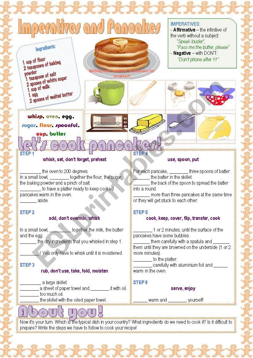 Imperatives and Pancakes worksheet
