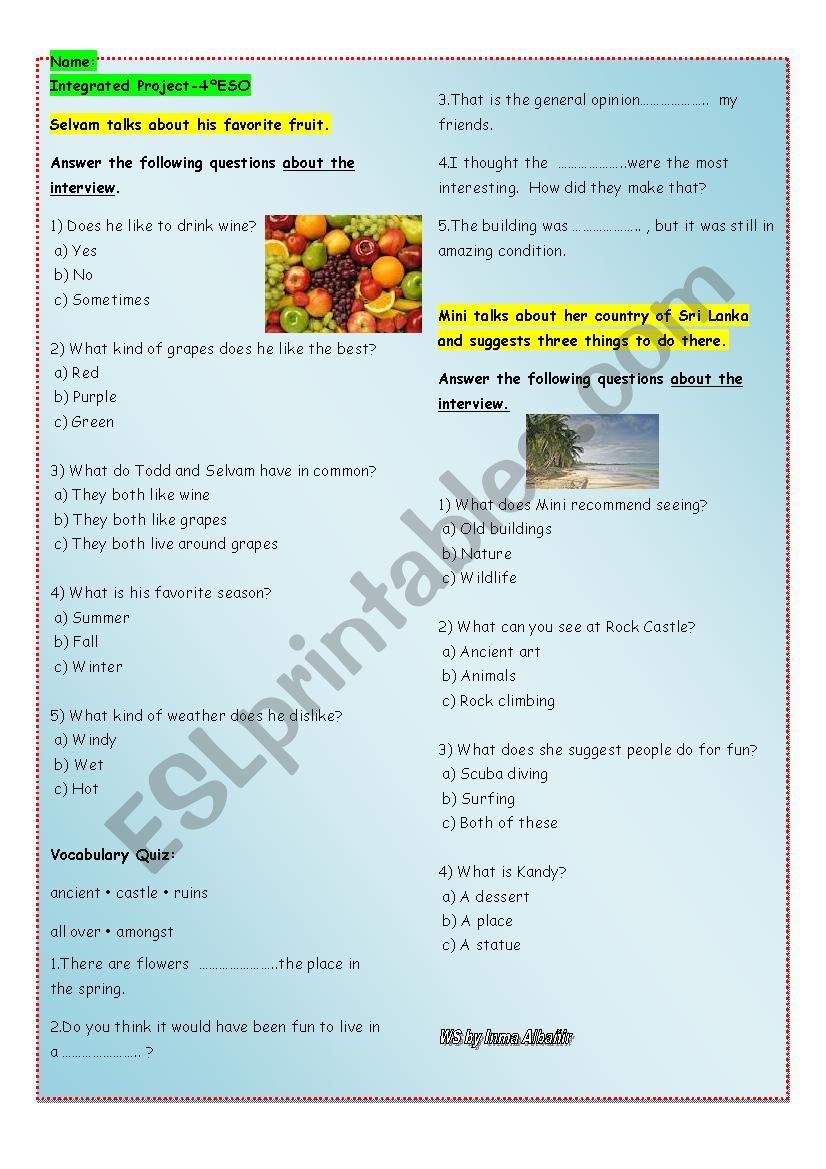 Two listenings for 4º ESO - ESL worksheet by inmaaa86