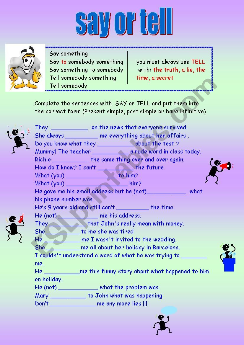 Say or tell  worksheet