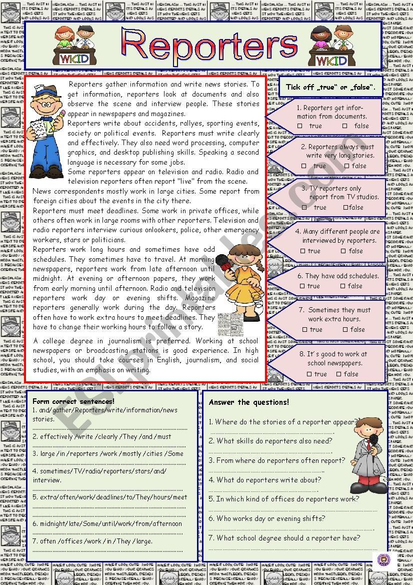 Reporters (+KEY) worksheet