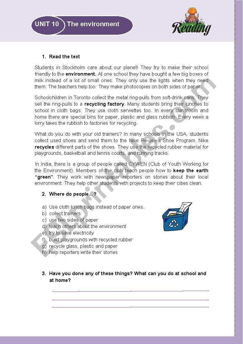 Environment - ESL worksheet by rosgj