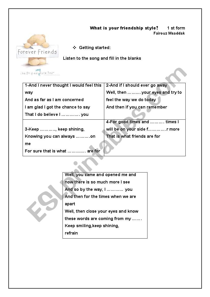 what s your friendship style? worksheet