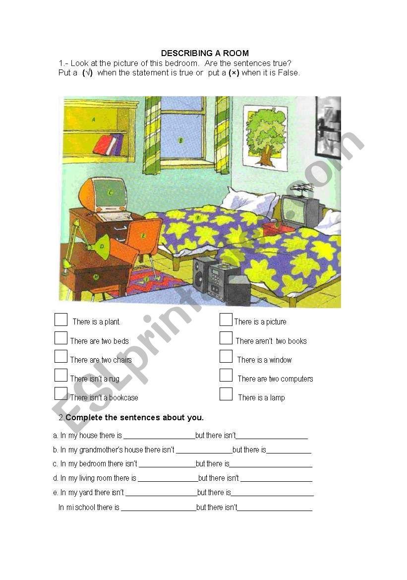 Describing my house worksheet
