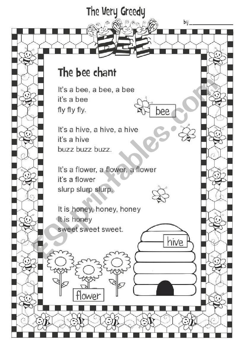 The Very Greedy Bee 1/3 worksheet