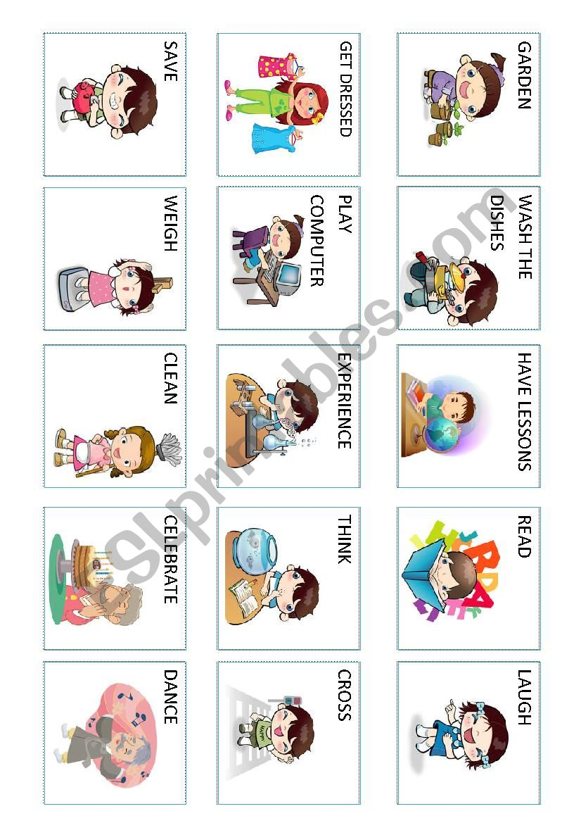 Action verbs (3 out 5) worksheet