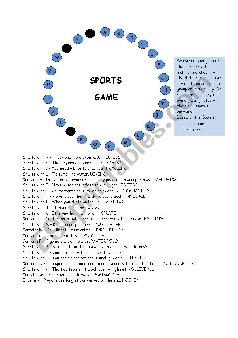 SPORTS GAME worksheet