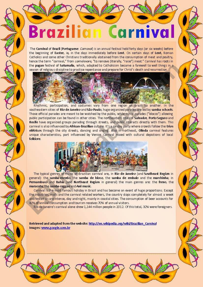 Brazilian Carnival 2013 worksheet