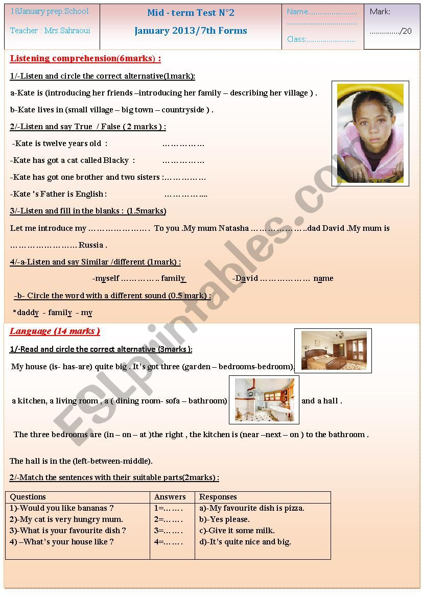 mid-term test n°2 (7th forms) worksheet