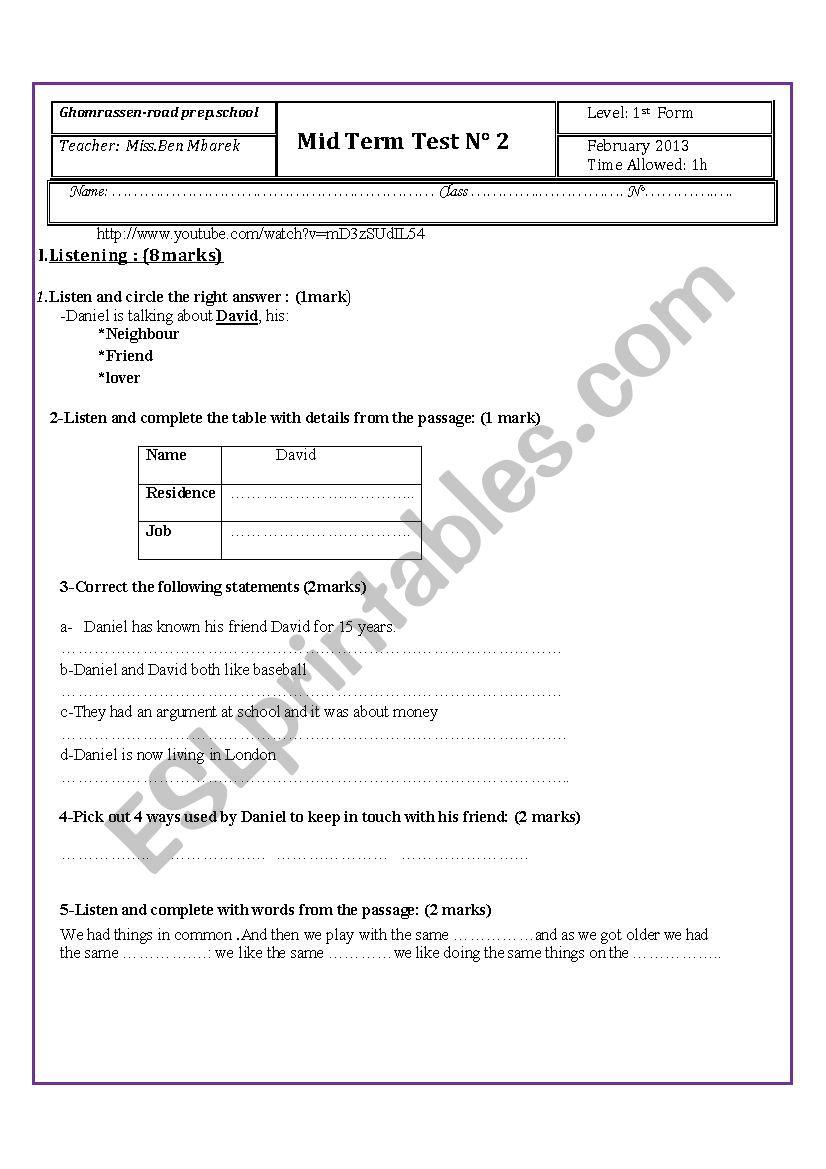 2nd mid-term test 1st form worksheet