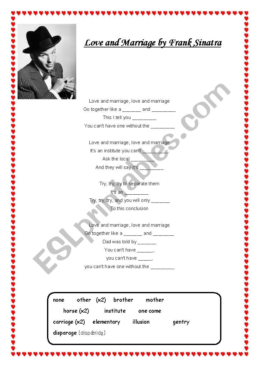 Love and Marriage (Series of lessons) Sinatra song, vocabulary work, discussion & reading