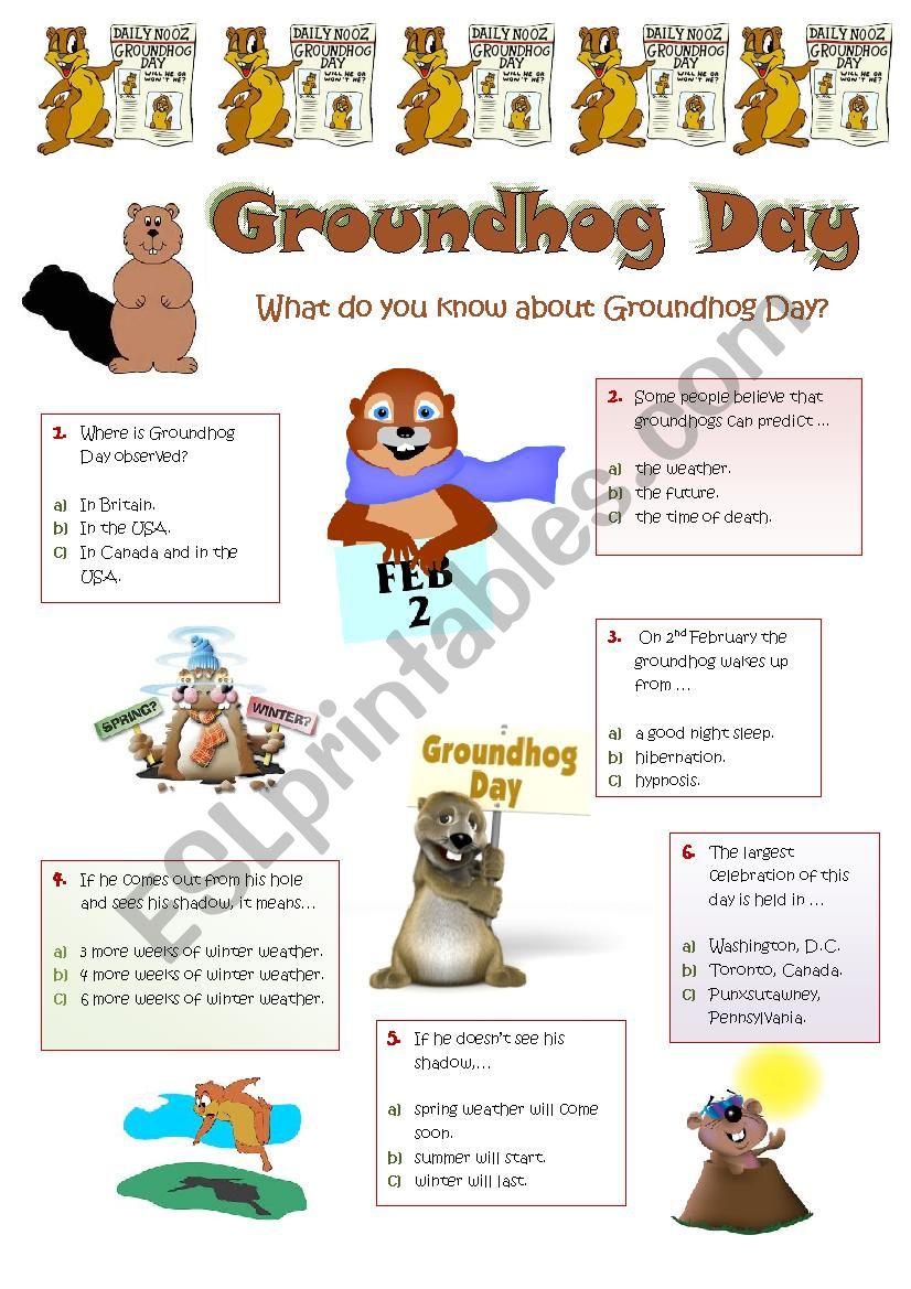 GROUNDHOG DAY - 2nd February - Quiz
