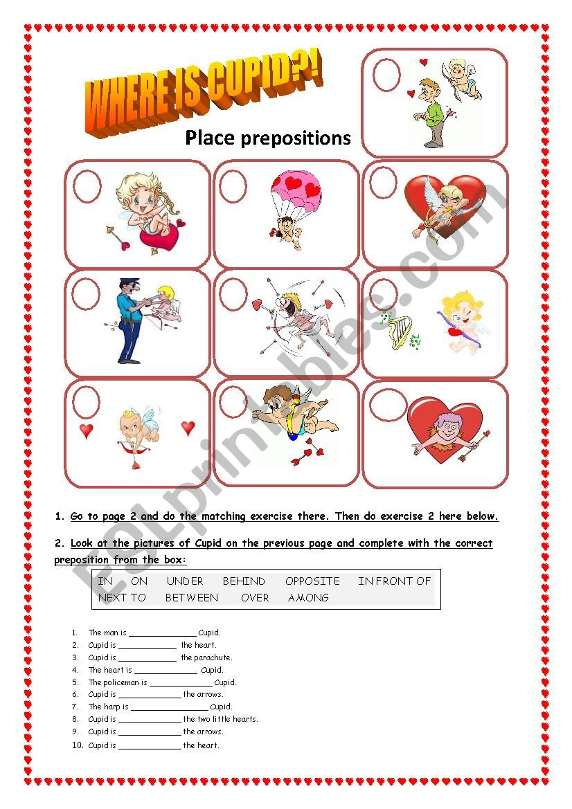 Where is Cupid? Doc.1: Place prepositions - ESL worksheet by ...