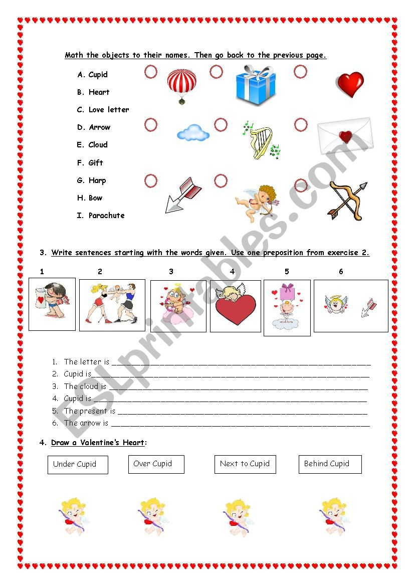 Where is Cupid? Doc 2: Place prepositions - ESL worksheet by ...