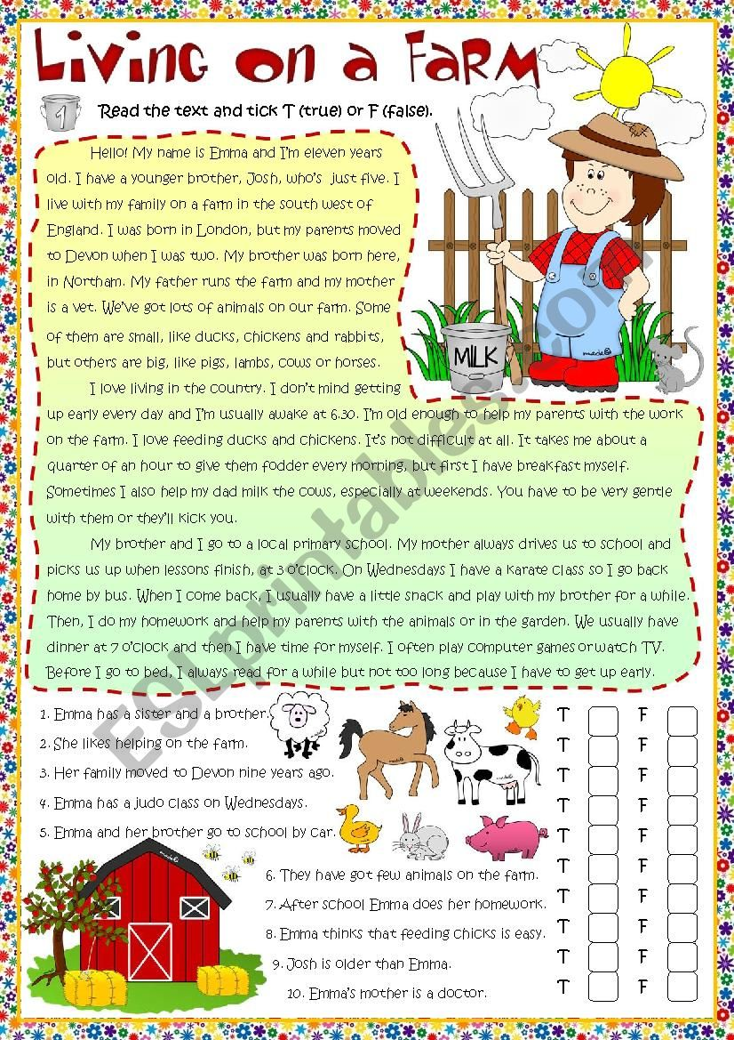 Living on a farm - reading worksheet
