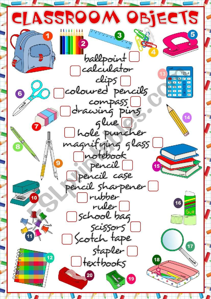 Classroom objects - matching worksheet