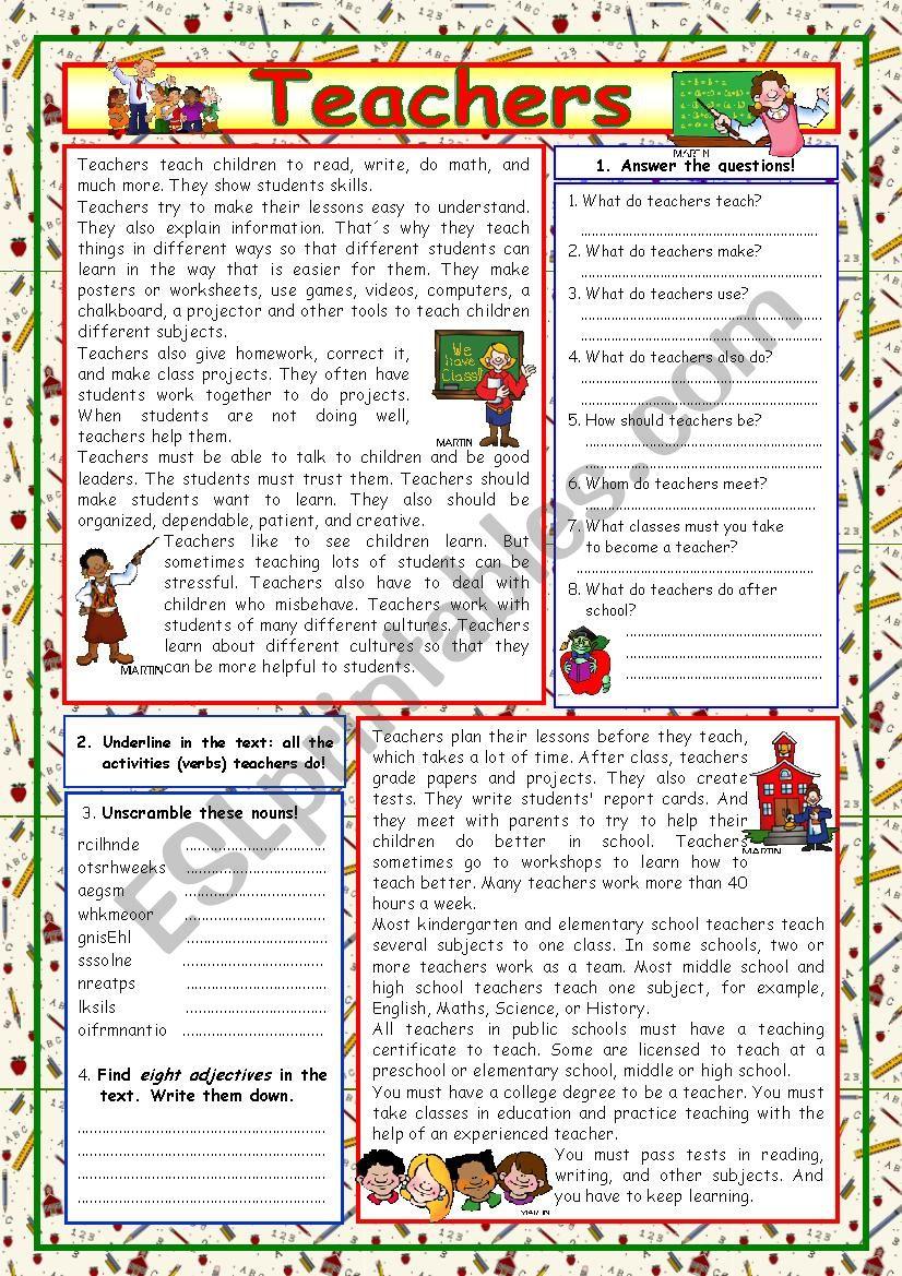 Teachers (+KEY) worksheet