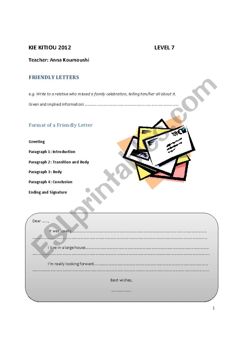 Igcse Friendly Letters And Narratives Esl Worksheet By Anniekoumoushi