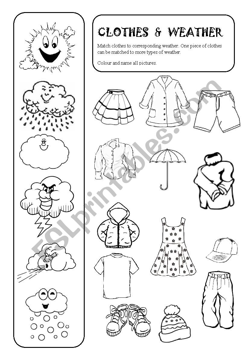 Clothes And Weather Esl Worksheet By Vjandeck1