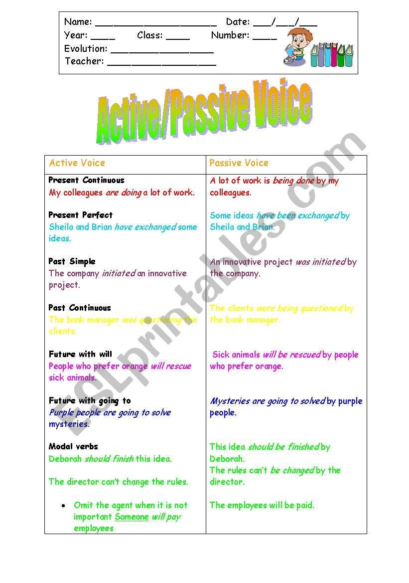 Active/Passive Voice worksheet