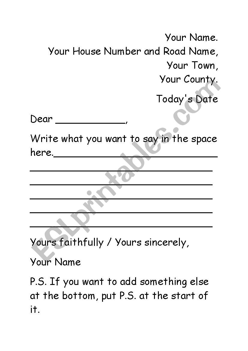 I Want To Buy Your House Letter Template from www.eslprintables.com