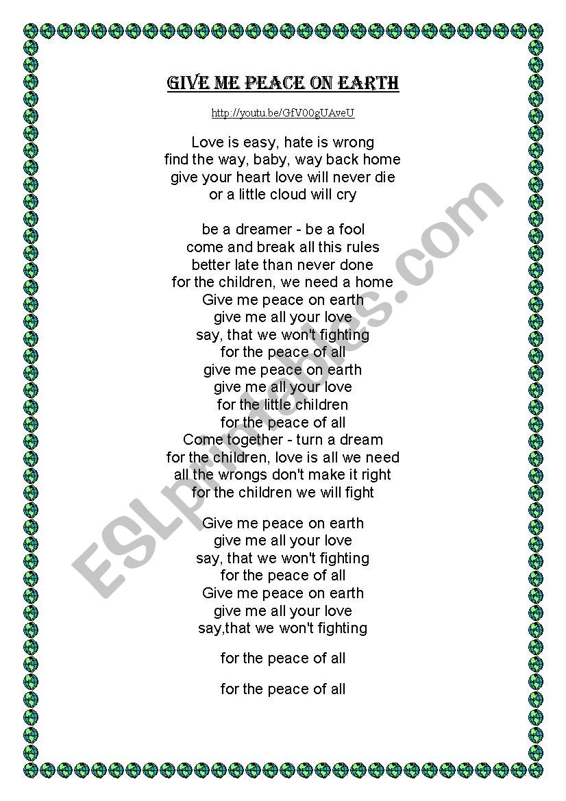 Give me peace on Earth worksheet