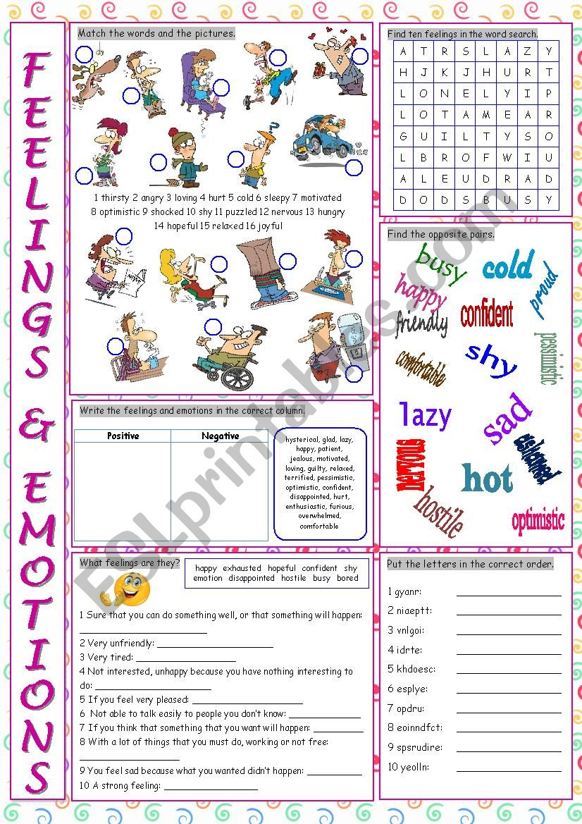 Feelings & Emotions Vocabulary Exercises