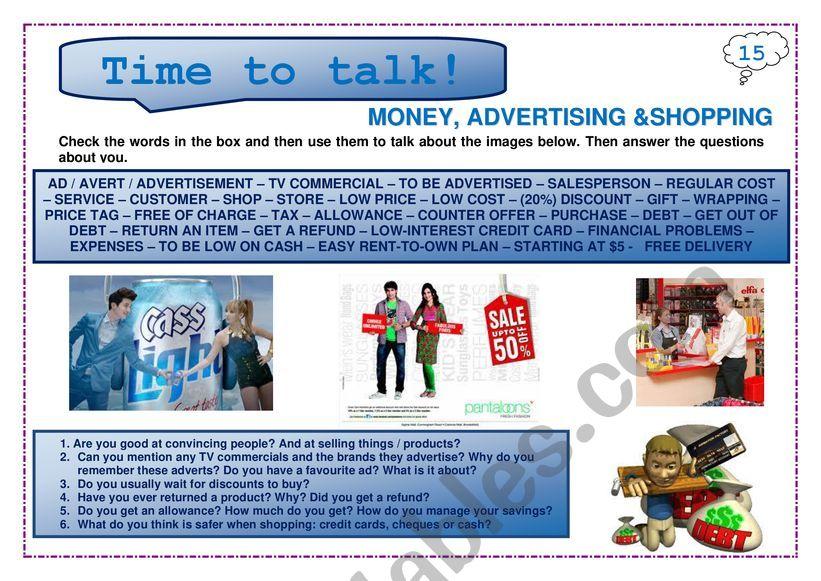 Time to talk (15): Money, advertising & shopping