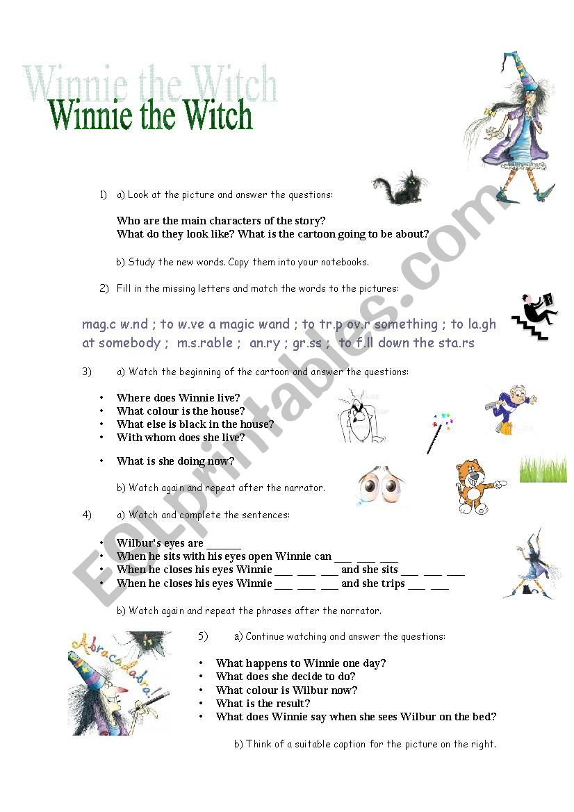 Winnie the Witch (handout for the video) - ESL worksheet by