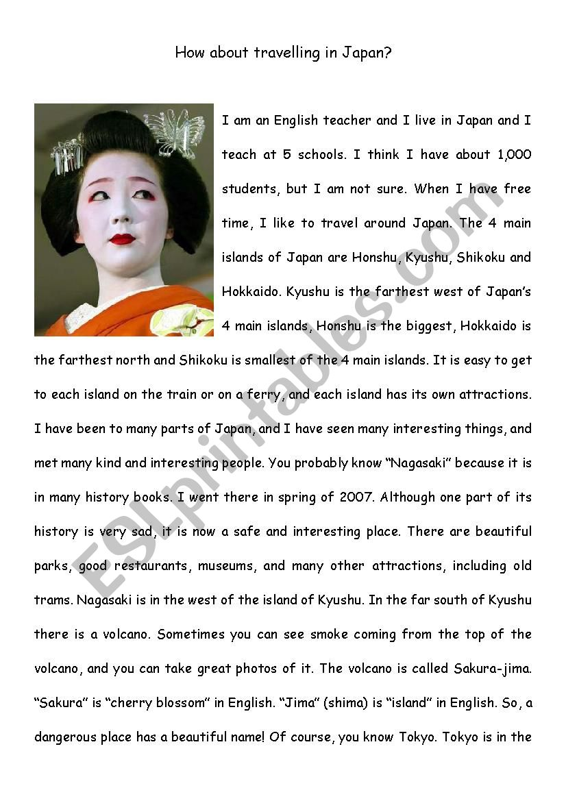 Reading Comprehension - Travel in Japan - Upper Intermediate - ESL
