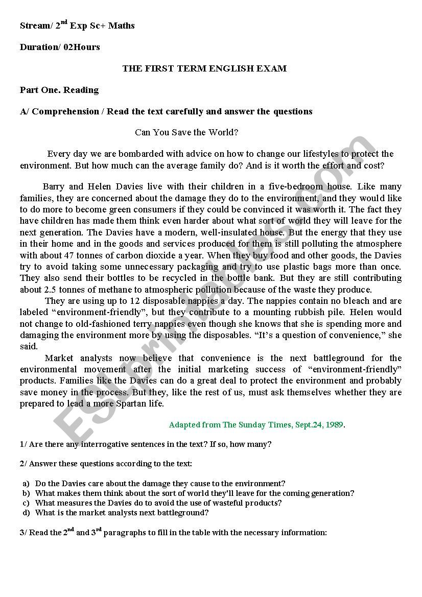 exam /can you save the world worksheet