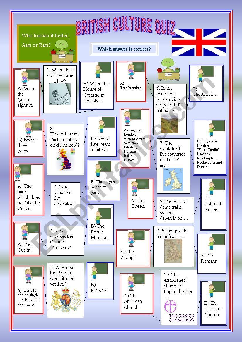 British Culture Quiz Part 1 worksheet