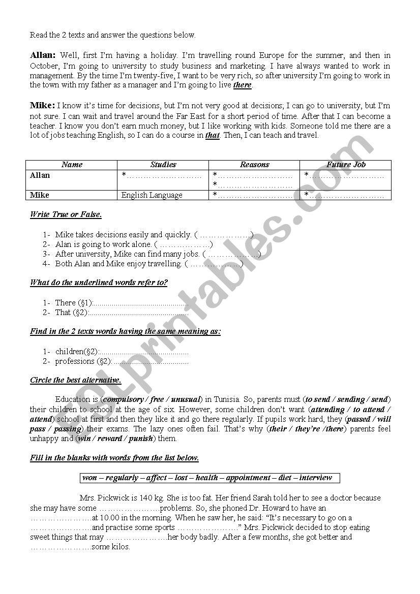 9th Form Worksheet 44 worksheet