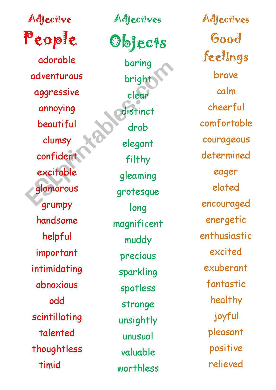 Intimidating adjectives