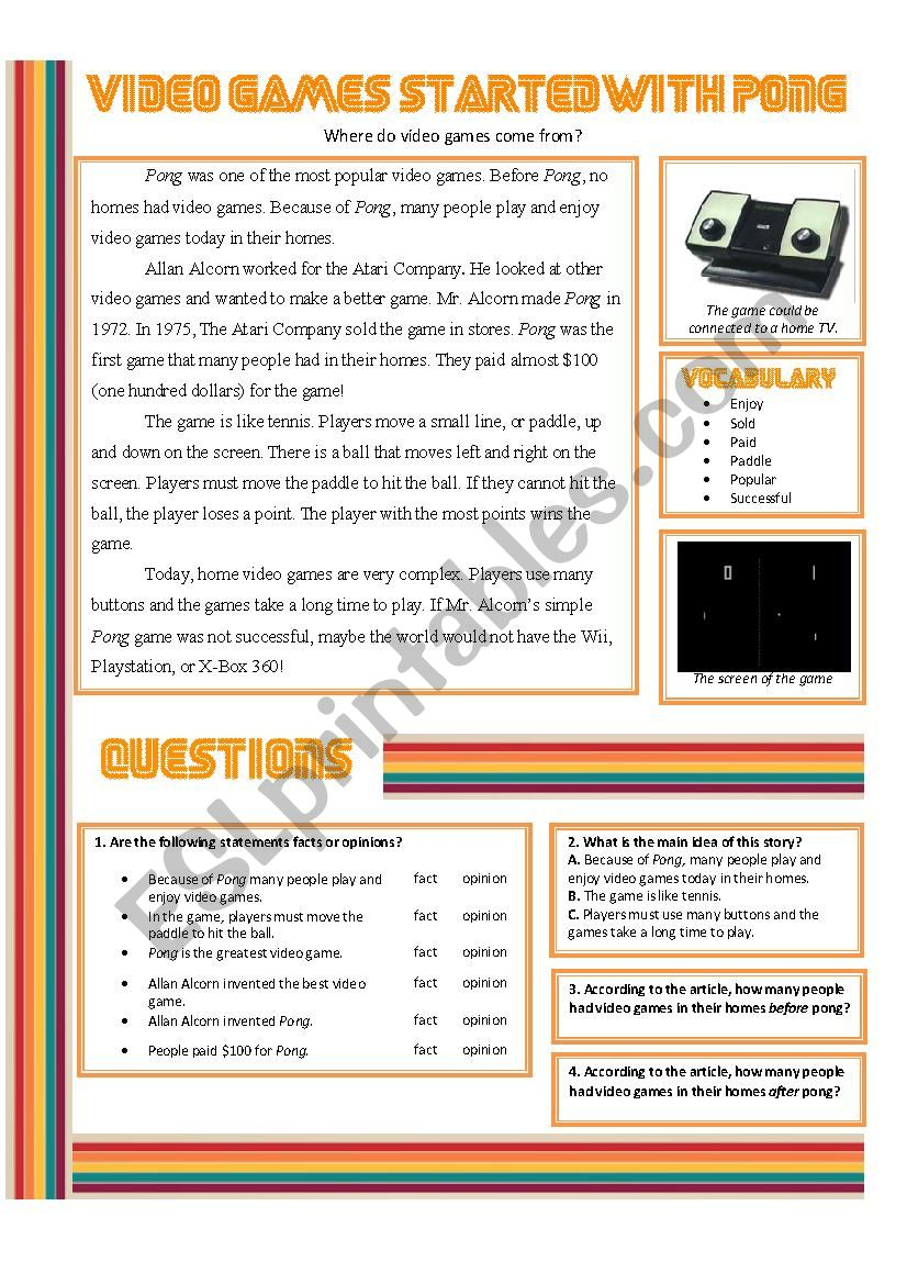 Video Games Started With Pong worksheet