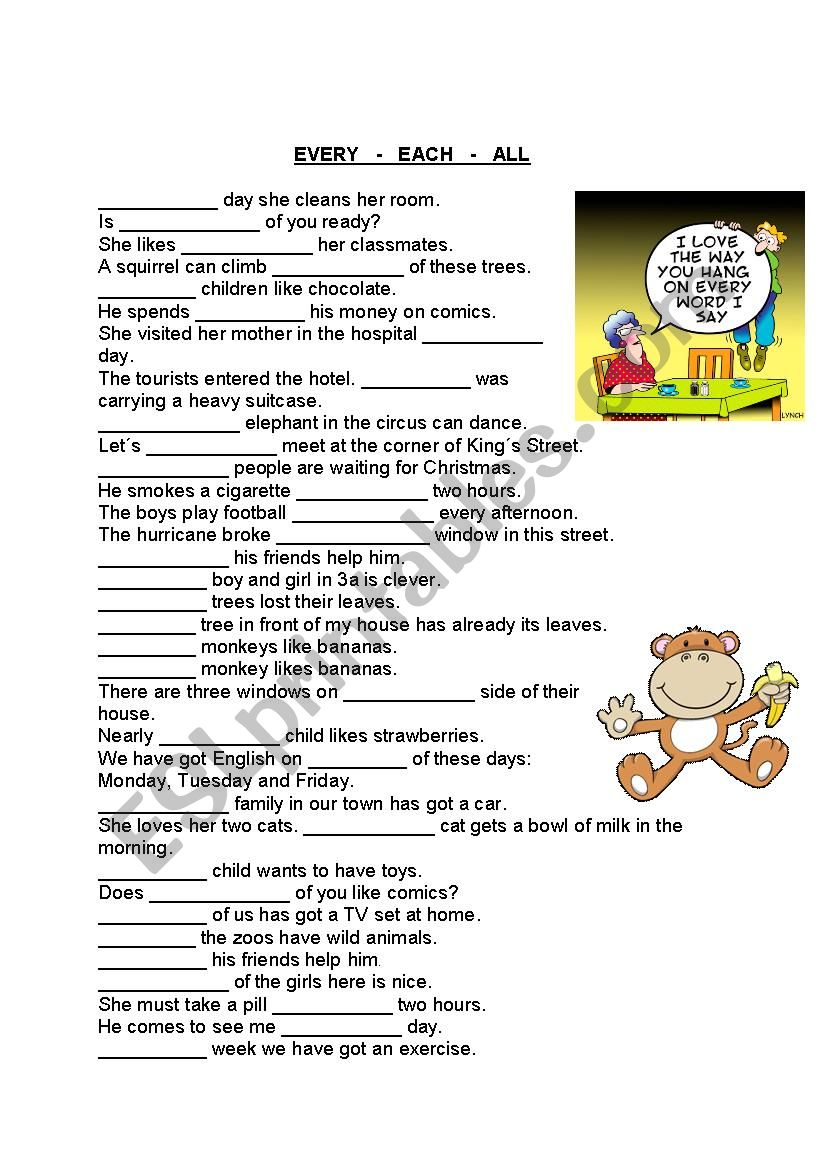 every, each, all worksheet