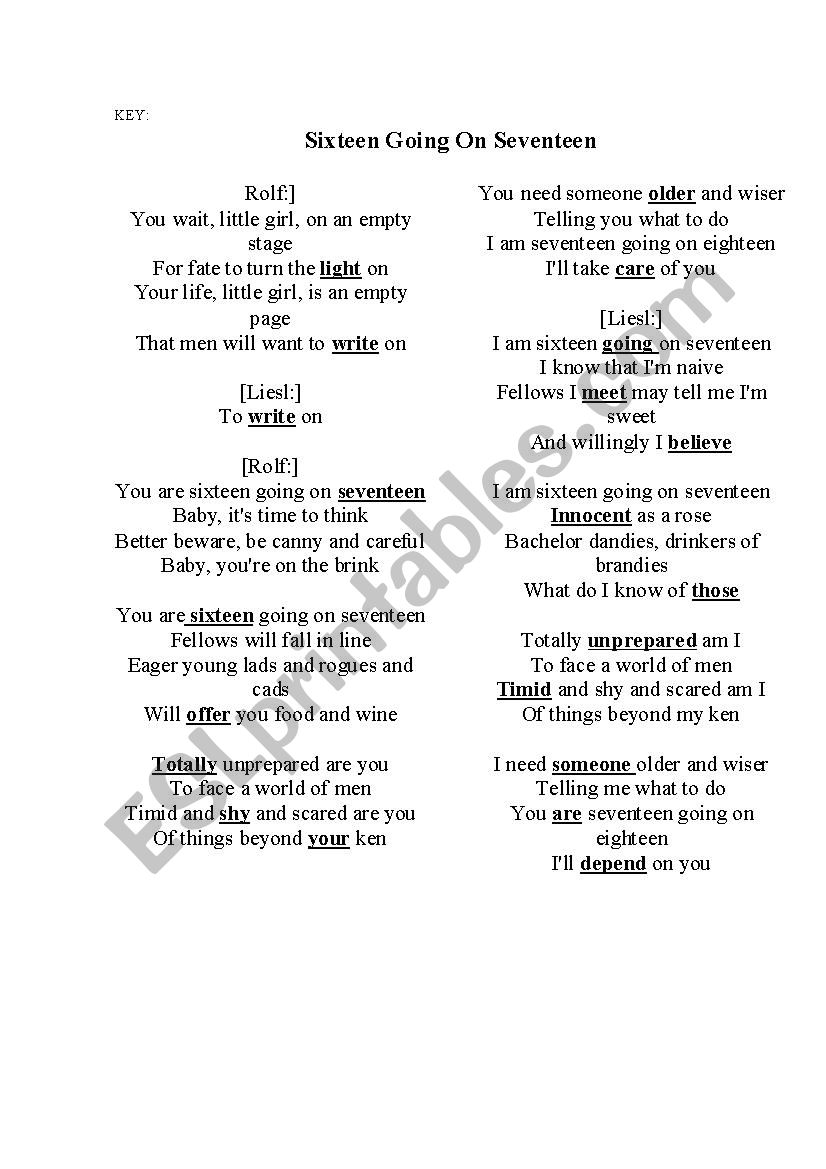 SIXTEEN GOING ON SEVENTEEN SONG - ESL worksheet by tima