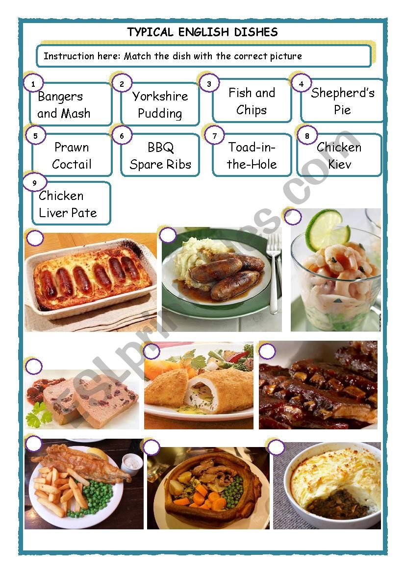 Typical English Dishes worksheet