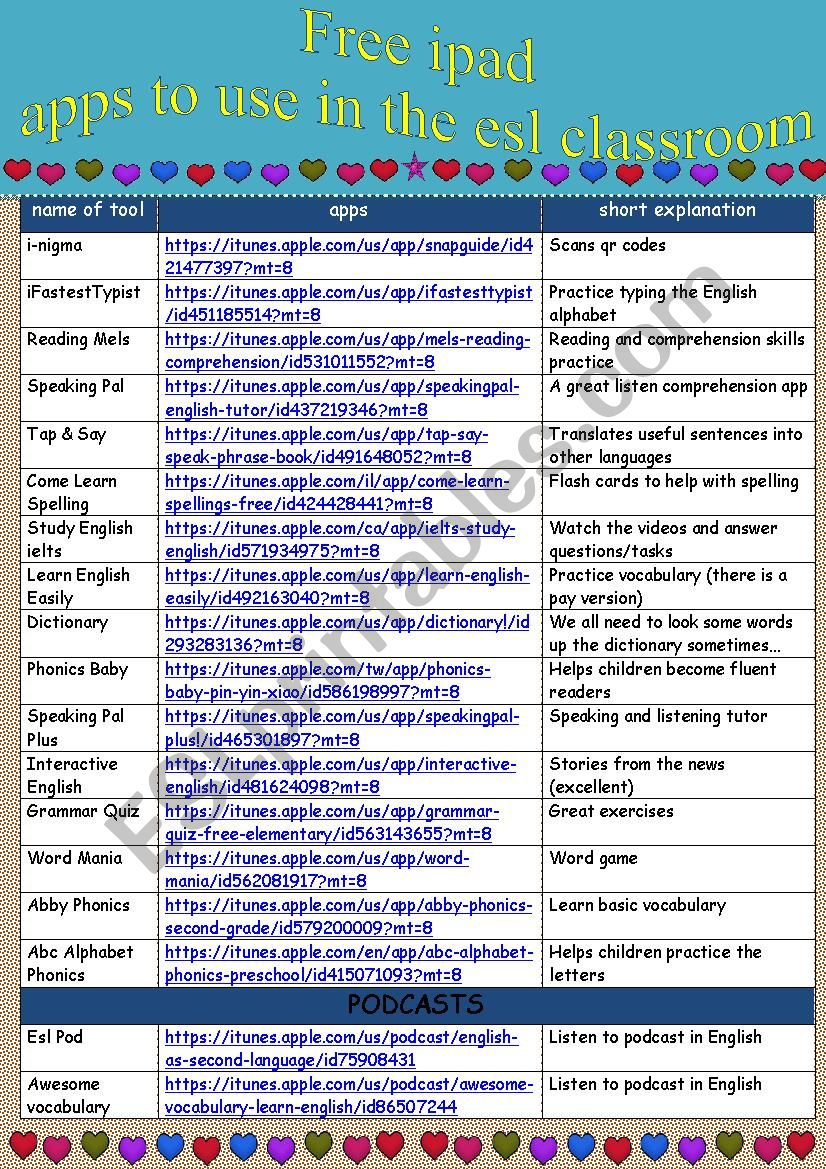 more FREE ipad apps to use in the ESL classroom - ESL worksheet by