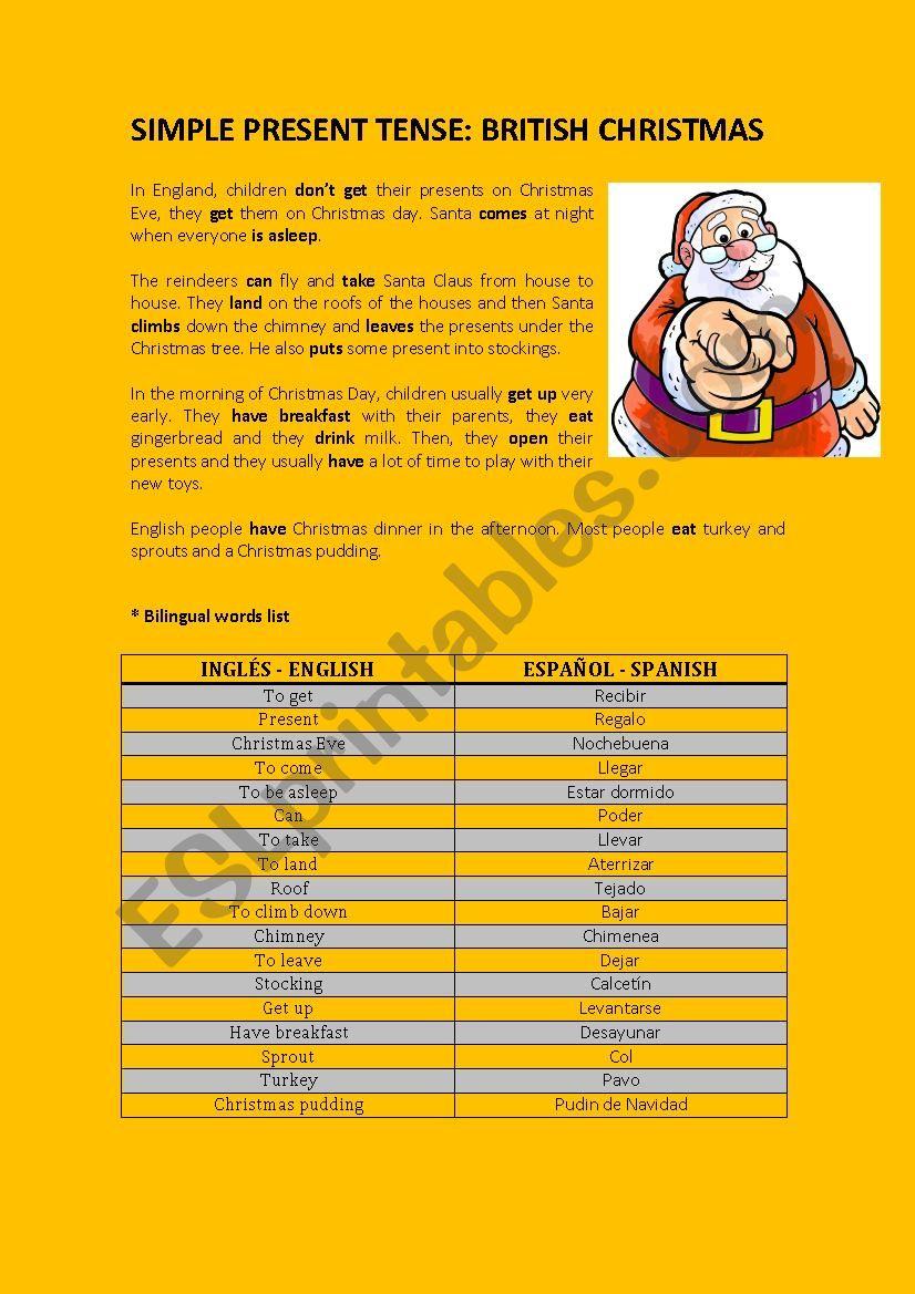 BRITISH CHRISTMAS worksheet