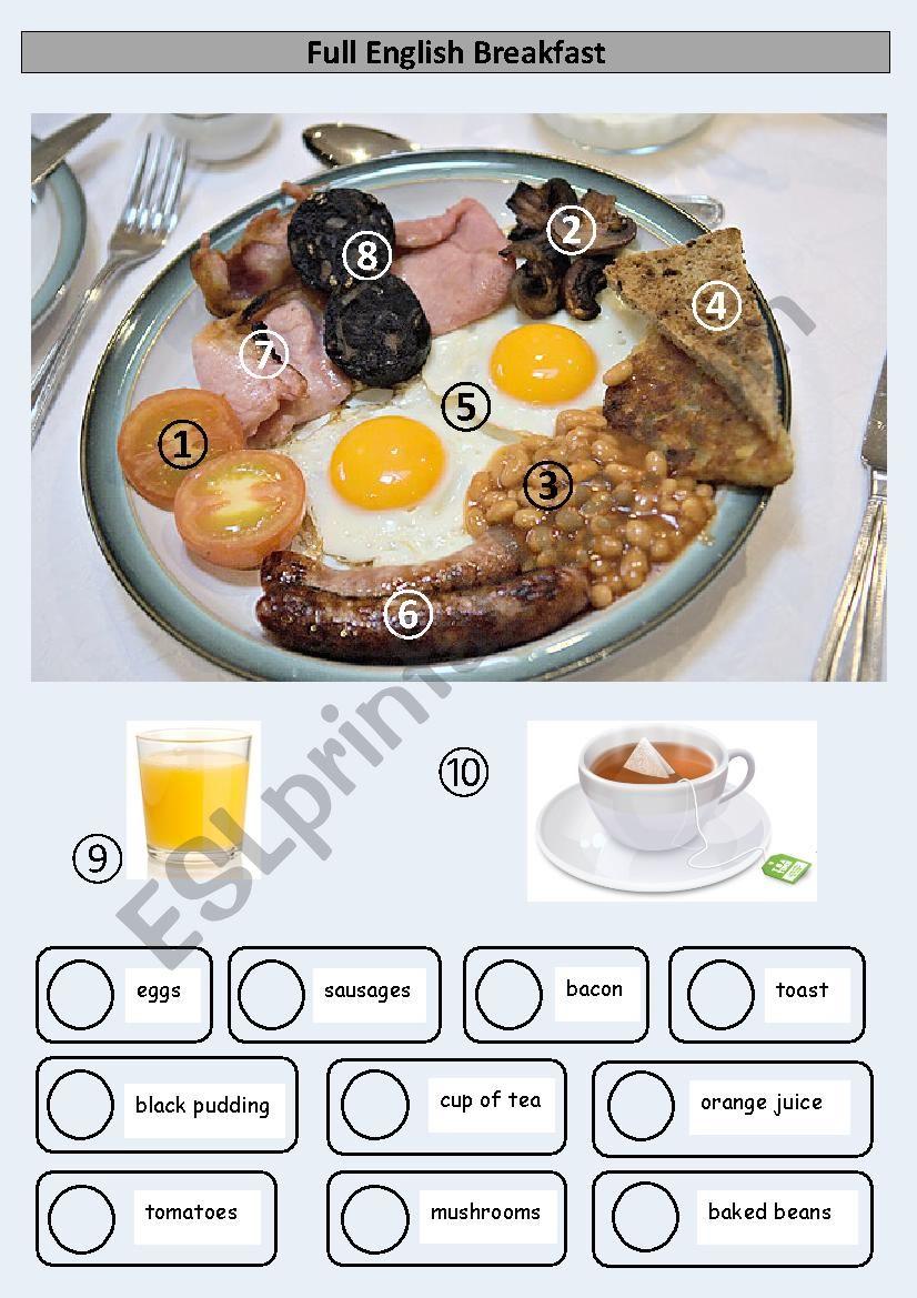 Full English Breakfast worksheet