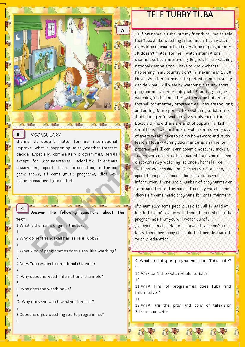 TELE TUBBY TUBA with KEY worksheet