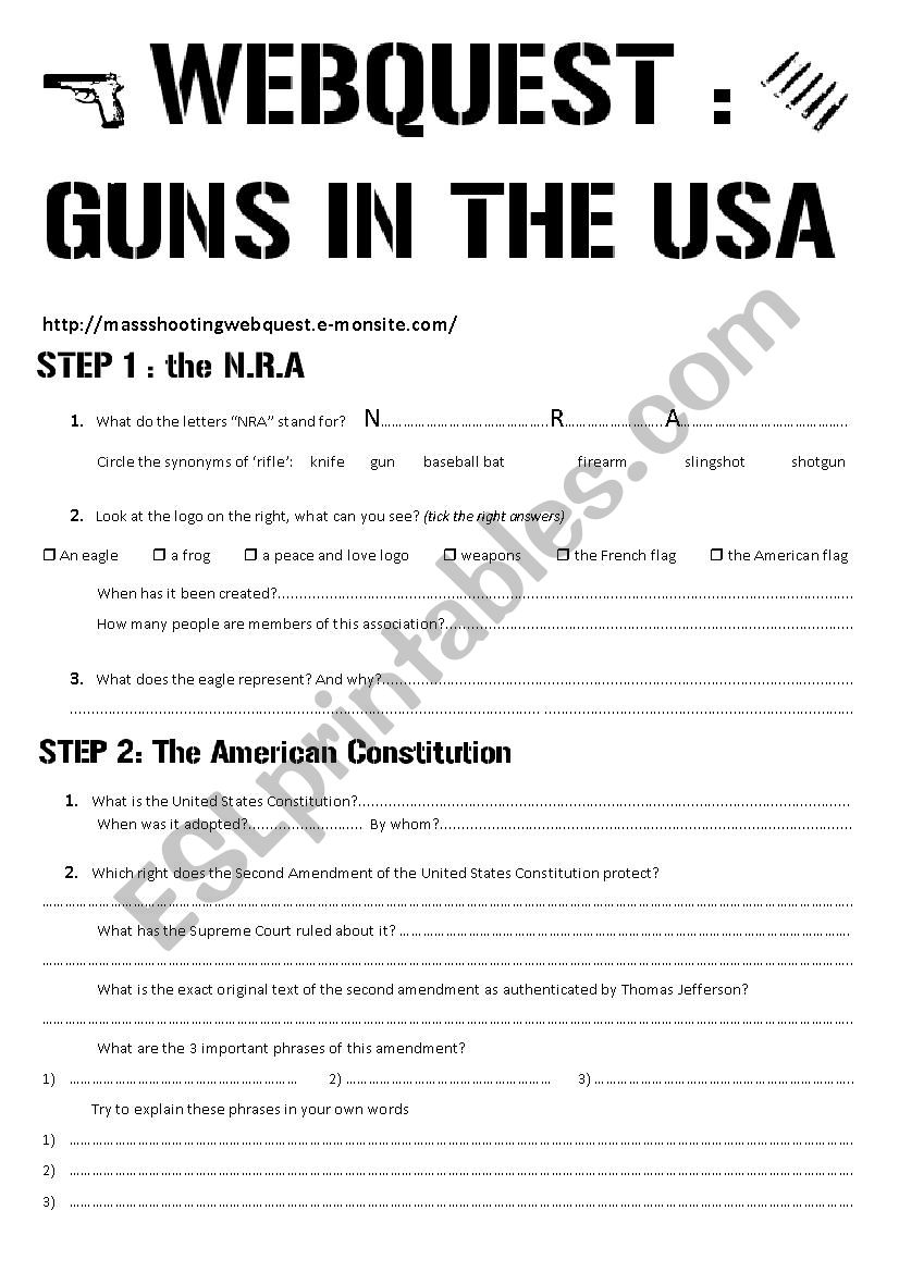 guns webquest worksheet worksheet