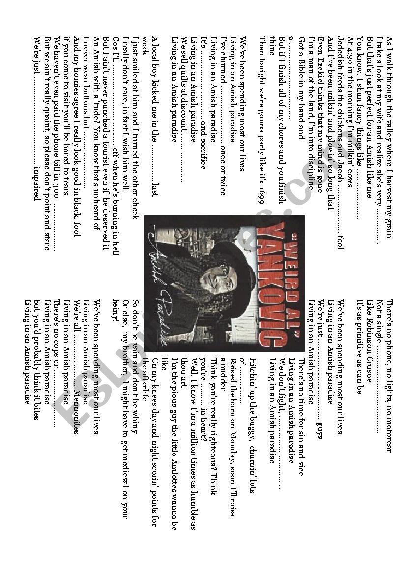 amish paradise, weird al yankovicmusic gapfill