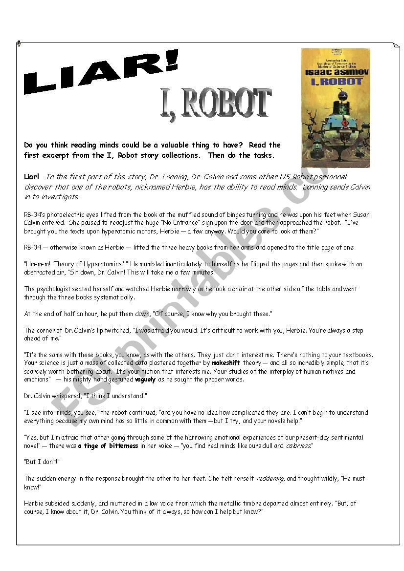 I Robot DVD Fiction Reading Exercise